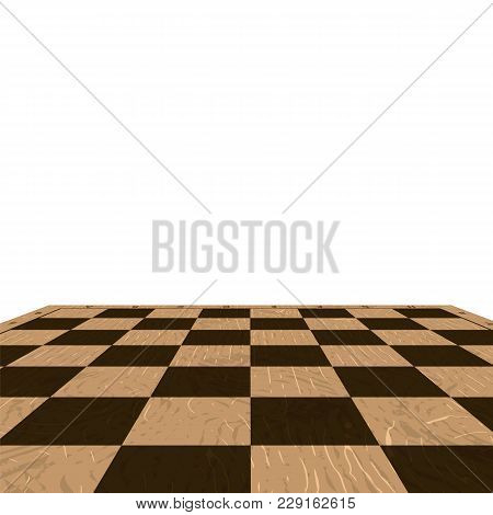 Wooden Checkered Background Illustration. Empty Board Backdrop
