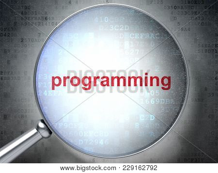 Programming Concept: Magnifying Optical Glass With Words Programming On Digital Background, 3d Rende