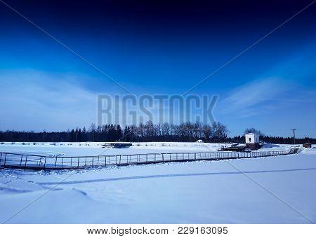 Diagonal Hinged Bridge Over Frozen River Landscape Background Hd