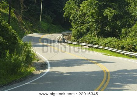 Winding Curvy Two Lane Road In The Mountains