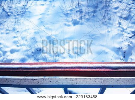 Snow On Station Railing Bokeh Background Hd