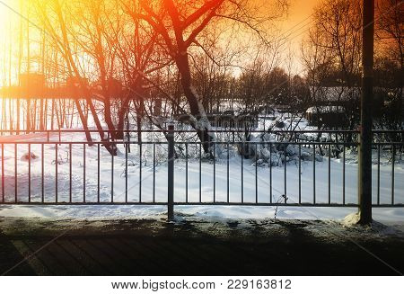 Border Fence On Train Station Background Hd