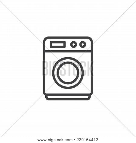 Washing Machine Outline Icon. Linear Style Sign For Mobile Concept And Web Design. Laundry Simple Li