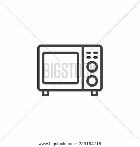 Microwave Oven Outline Icon. Linear Style Sign For Mobile Concept And Web Design. Kitchen Appliances