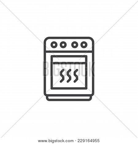 Oven Outline Icon. Linear Style Sign For Mobile Concept And Web Design. Stove Simple Line Vector Ico
