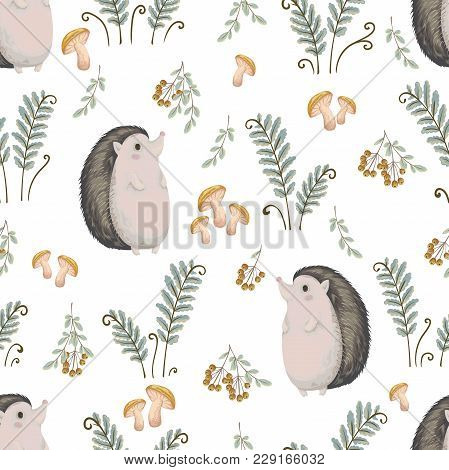 Seamless Pattern With Hedgehog, Fern, Mushrooms, Tree Branches And Berries. Cute Cartoon Characters.