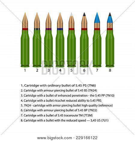 Vector, Illustration Modifications Of Ammunition For Kalashnikov Assault Rifle
