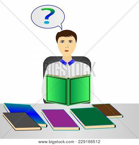 Vector, Illustration Man Reading A Book, Puzzled By The Question