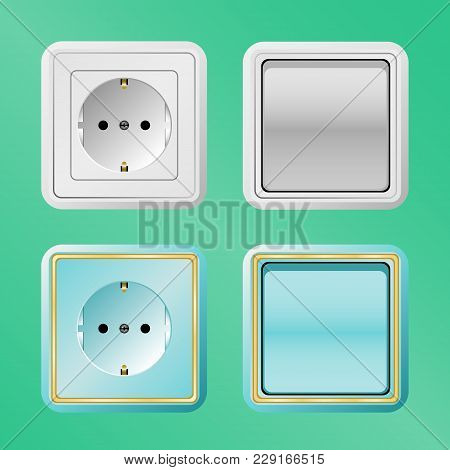 Vector Illustration Of Electric Switches And Sockets On A Green Background
