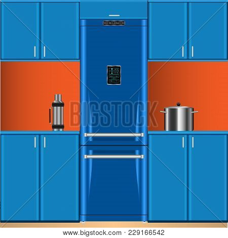 Vector, Illustration Two-door Refrigerator, Thermos, Casserole, Kitchen Furniture Blue
