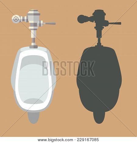 Urinal Set  Vector Illustration Flat Style  Front Side