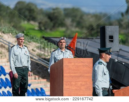 Mishmar David, Israel, Februar 21, 2018 : Officers Of The Idf Stand Still While Performing The Anthe