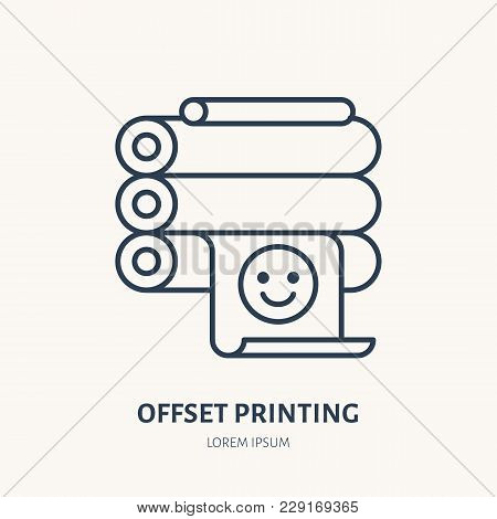 Offset Printer With Printed Paper Flat Line Icon. Printing Device Sign. Thin Linear Logo For Printer