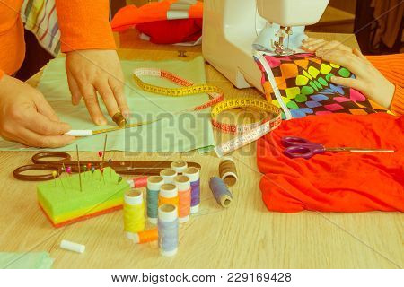 Tailor Woman, Fashion Designer Working At Studio. Tailor Making A Garment In Her Workplace. Hobby Se