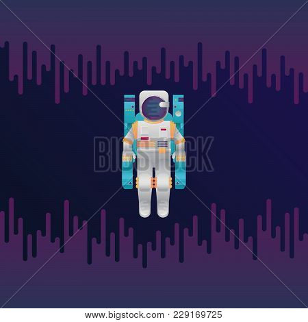 Vector Illustration Of Sci-fi Astronaut In Space. Abstract Digital Cosmonaut In Space Suit Icon With