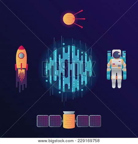 Vector Illustration Of Sci-fi Planet, Rocket, Astronaut, Space Satellite And Satellite With Solar Ce