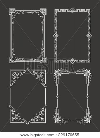 Chalk Style Set Of Vintage Frames Decorative Border With Corners, Leaves And Curved Elements In Blac
