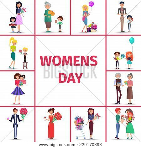 Happy Womens Day For Girls, Women And Grandmothers Vector Illustration. Female Of Different Ages Get