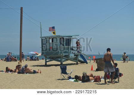 Magnificent White Sand Beach In Santa Monica With Its Pretty Lifeguard Posts. July 04, 2017. Travel