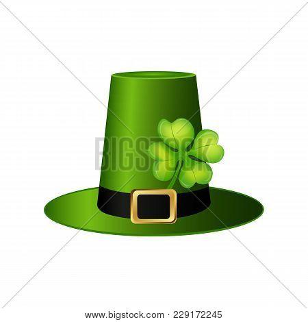 Cylinder Hat Leprechaun With Clover Leaf For St. Patrick Vector Illustration