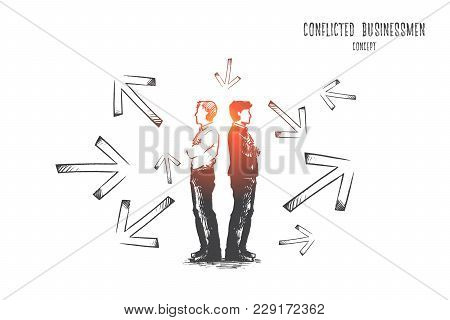 Conflicted Businessman Concept. Hand Drawn Conflicted Businessmen Choosing Between Directions With A