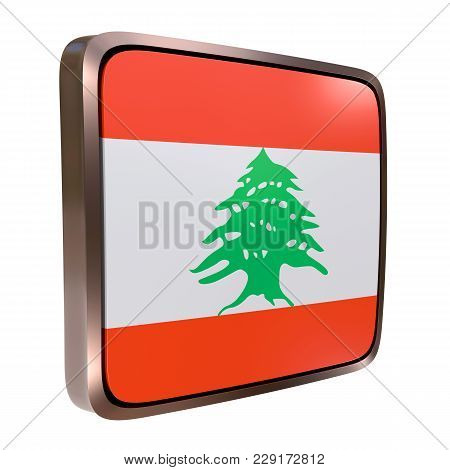 3d Rendering Of A Lebanon Flag Icon With A Metallic Frame. Isolated On White Background.