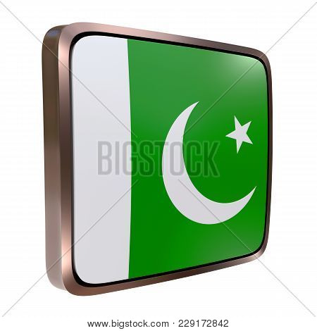 3d Rendering Of A Pakistan Flag Icon With A Metallic Frame. Isolated On White Background.