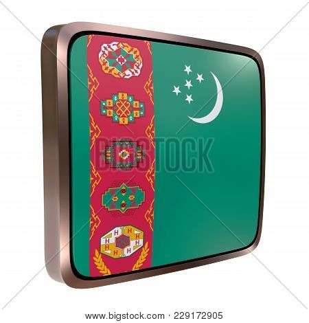 3d Rendering Of A Turkmenistan Flag Icon With A Metallic Frame. Isolated On White Background.