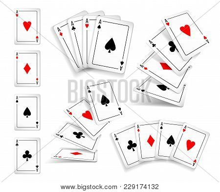 Several Variants Set Of Four Aces Deck Of Cards For Playing Poker And Casino. Four Aces Of Diamonds,