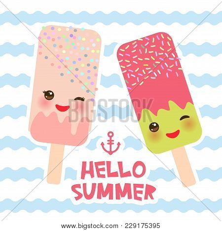 Hello Summer Ice Cream, Ice Lolly, Kawaii With Pink Cheeks And Winking Eyes, Pastel Colors Card Desi