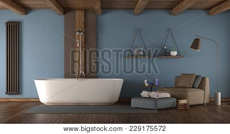 Blue Modern Bathroom With Bathtub,shower And Armchair - 3d Rendering