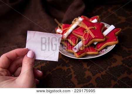 Homemade Fortune Gingerbread With Predictions. Handmade Sweets On Brown Textile Background.