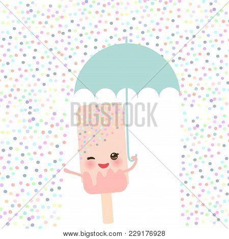 Pink Ice Cream, Ice Lolly Holding An Umbrella. Kawaii With Pink Cheeks And Winking Eyes, Pastel Colo