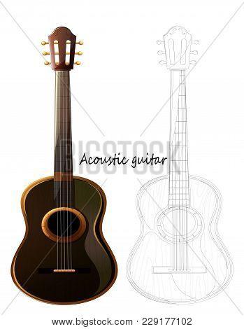 Acoustic Guitar - Detailed Realistic Sketch, Pencil Sketch