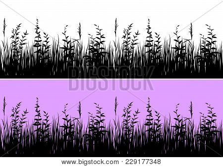 Line Seamless Landscape With Black Silhouette Grass, Isolated On White And Color Background, Element