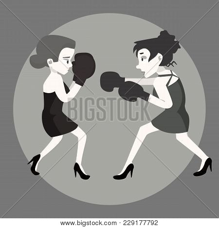 Two Girls In Dresses Fighting - Funny Vector Cartoon Illustration In Flat Style