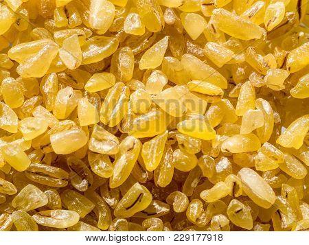 Raw Dry Grains Bulgur, Close-up, Top View