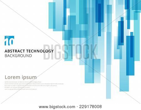 Abstract Technology Vertical Overlapped Geometric Squares Shape Blue Colour On White Background With