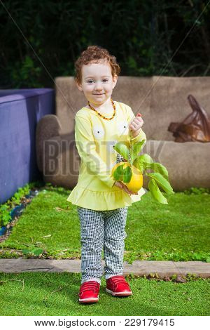 Cute Toddler Girl In Yellow Dress With Lemons In Both Hands