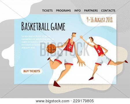 Basketball Players In Abstract Flat Style. Men Playing With A Basketball Ball. Vector Illutration, D