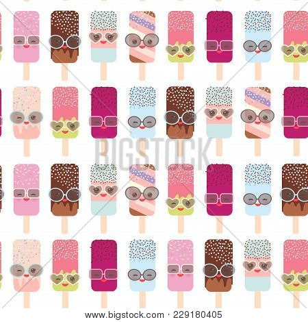 Seamless Pattern Ice Cream, Ice Lolly Kawaii With Pink Cheeks And Winking Eyes, Sunglasses, Pastel C