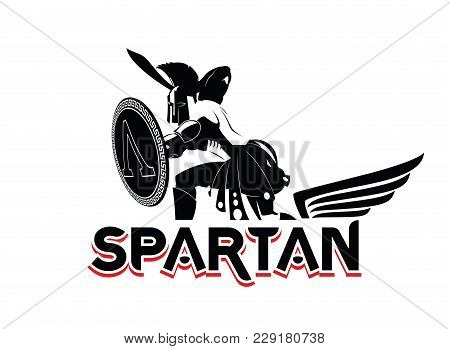 Spartan Emblem In Helmet And Shield. Black-and-white Logo. Vector Illustration