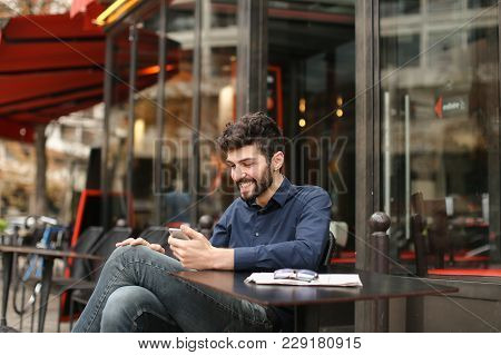 Happy Businessman Typing Message To Partner And Wondering With Successful Surprise In  . Handsome Ma
