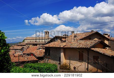 View Of The Medieval Historic Center Of Montone, A Small Town In The Umbria Countryside In Italy, Wi