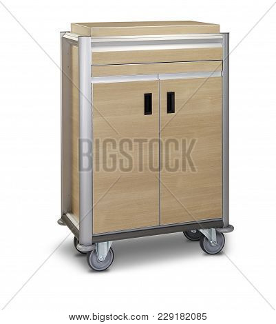 Metal Cleaning Hotel Trolley Isolated - Clipping Path