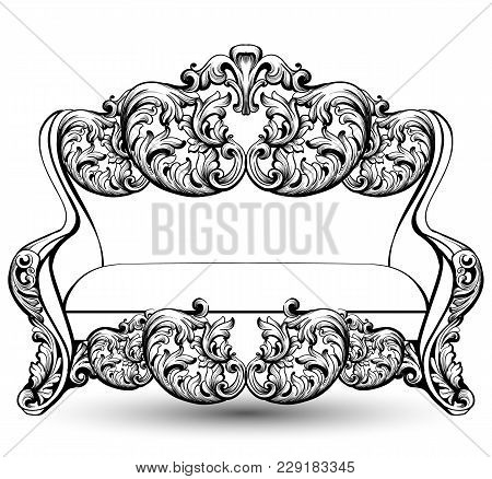 Baroque Couch With Luxurious Ornaments. Vector French Luxury Rich Intricate Structure. Victorian Roy