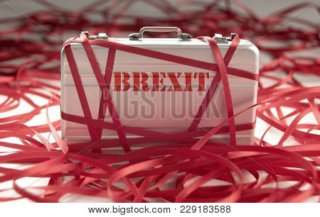 Red Tape Around A Briefcase Labeled Brexit