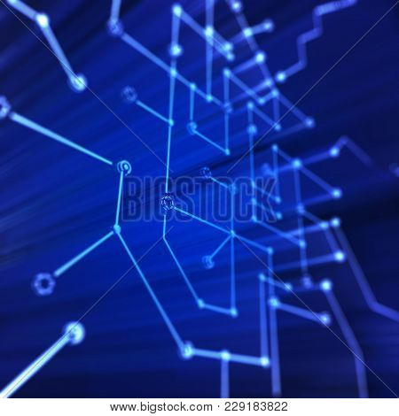 Microcircuit Structure. Technology 3d Rendering Concept Graphic Background