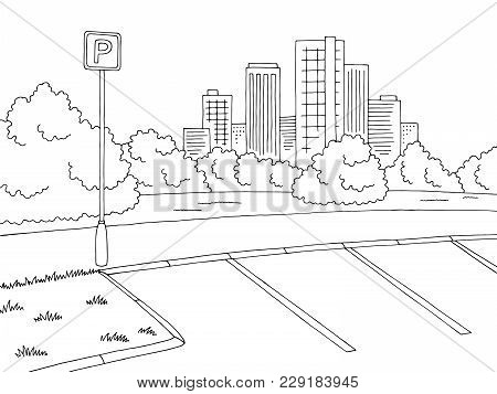 Parking Graphic Black White City Landscape Sketch Illustration Vector