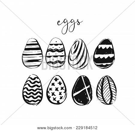 Hand Drawn Vector Abstract Sketch Ink Graphic Scandinavian Shabby Happy Easter Cute Simple Scandinav